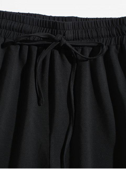 ZAFUL Short Métallisée Rayé Contrasté Taille à Condon - Noir L Mobile
