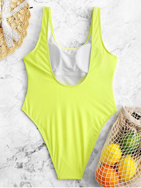 outfits High Cut Backless Swimsuit - TEA GREEN M Mobile