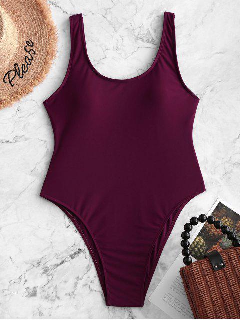 unique High Cut Backless Swimsuit - MAROON L Mobile