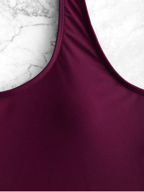 shop High Cut Backless Swimsuit - MAROON S Mobile