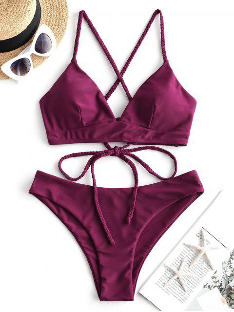unique ZAFUL Braided Lace Up Plain Bikini Swimsuit - RED WINE S Mobile