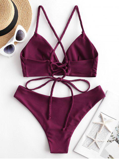 Costume da Bagno Bikini in Tinta Unita con Lacci di ZAFUL - Vino Rosso L Mobile