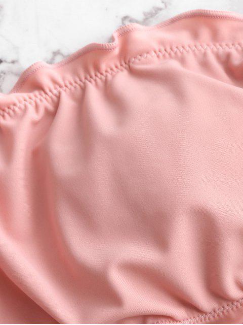 ZAFUL Maillot de Bain Bikini Bandeau à Ourlet en Laitue à Lacets - Rose Cochon L Mobile