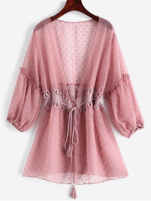 outfit Tie Crochet Panel Swiss Dot Cover-up - ROSE ONE SIZE Mobile