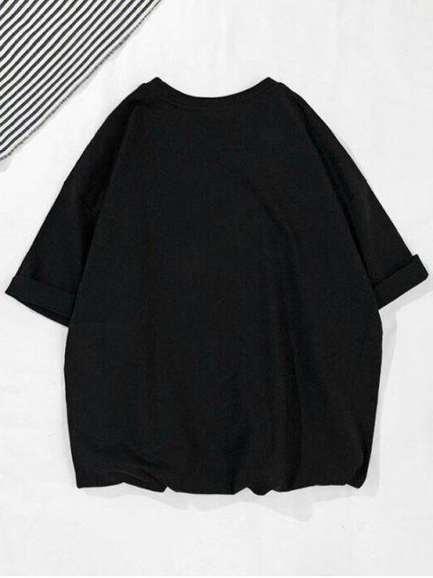 Dolor Sit a Met Letter Dolphin Print camiseta informal - Negro M Mobile