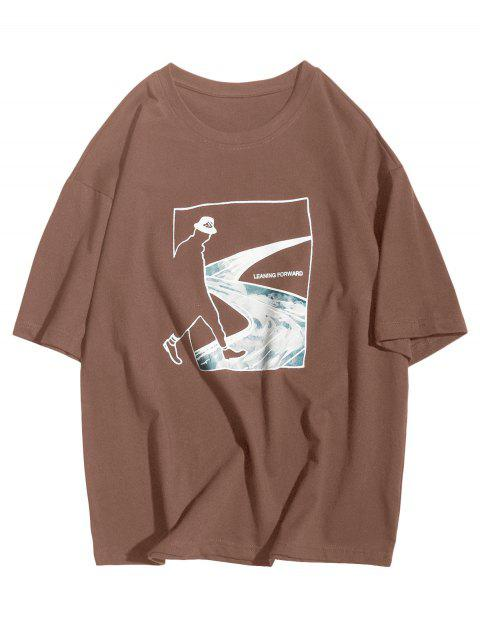 Inclinada hacia adelante Abstract Figure Road Graphic Casual T-shirt - Café L Mobile