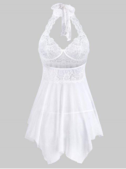 ladies Lace Insert Halter Bowknot Handkerchief Babydoll - WHITE L Mobile