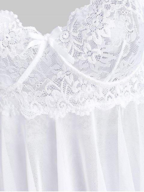 best Lace Insert Halter Bowknot Handkerchief Babydoll - WHITE XL Mobile