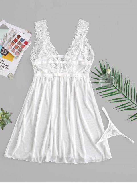 shop Lace Insert Bowknot Plunging Babydoll - WHITE ONE SIZE Mobile