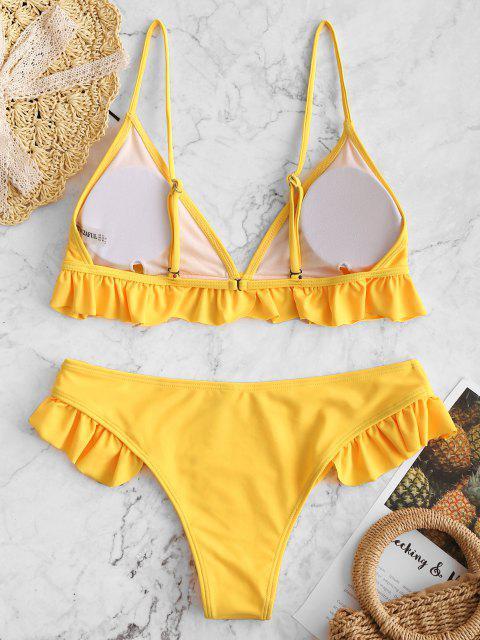 lady Ruffle Padded Plunge Bikini Set - YELLOW L Mobile