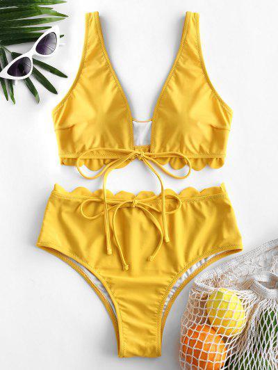 ef97d938e2f ZAFUL Scalloped Plunging High Waisted Bikini Swimsuit - Bright Yellow S ...