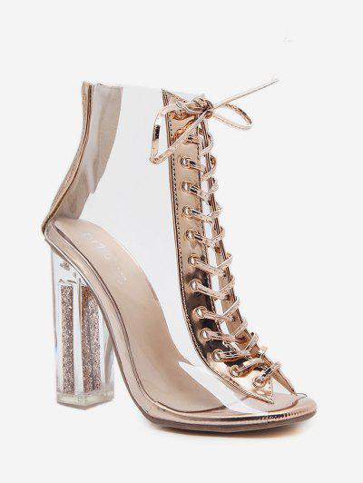 d99e4838b60 Peep Toe Transparent Lace Up High Heel Pumps CHAMPAGNE GOLD