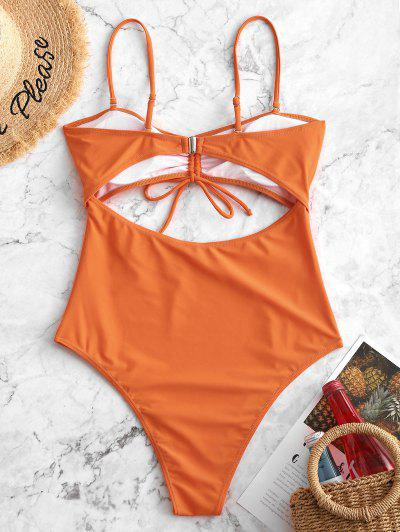 c265b9a82a63d ... ZAFUL Cinched Cutout High Cut One-piece Swimsuit - Pumpkin Orange M
