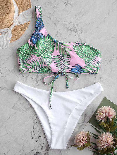 ZAFUL Palm One Shoulder Lace Up Bikini Swimsuit