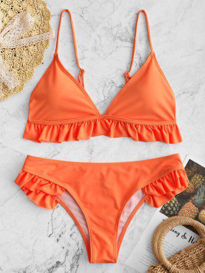 2b3c0acd427 Ruffle Padded Plunge Bikini Set - Orange - Orange S ...