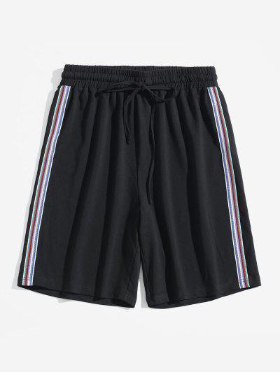 bd7e350437 ZAFUL Drawstring Waist Metallic Striped Contrast Shorts - Black L ...