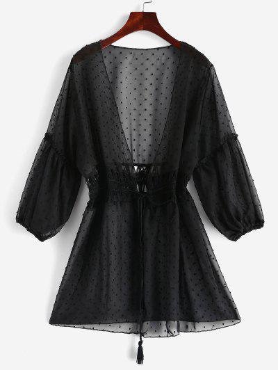 Tie Crochet Panel Swiss Dot Cover-up - Black