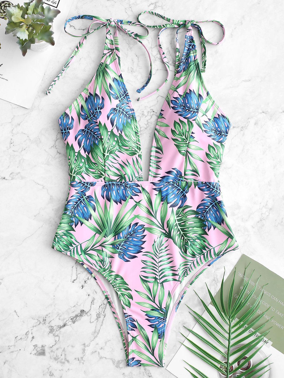 ZAFUL Palm Cravatta Spalla Costume da bagno senza Schienale
