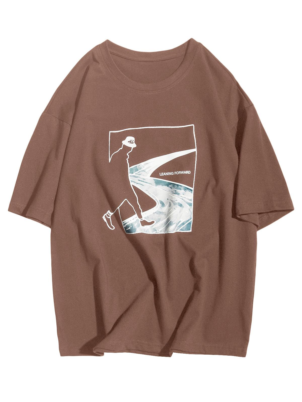 Leaning Forward Abstract Figure Road Graphic Casual T-shirt фото