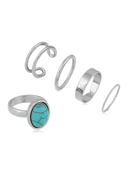 5Pcs Brief Alloy Turquoise Ring Set