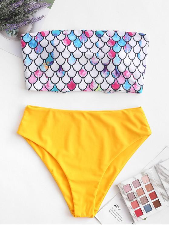 shops ZAFUL Scale Print Cross Bandeau Mermaid Bikini Swimsuit - BRIGHT YELLOW M