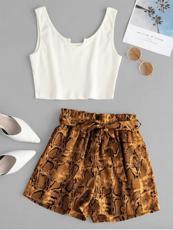 buy ZAFUL Ribbed Top And Snake Print Paperbag Shorts Set - MULTI-A M