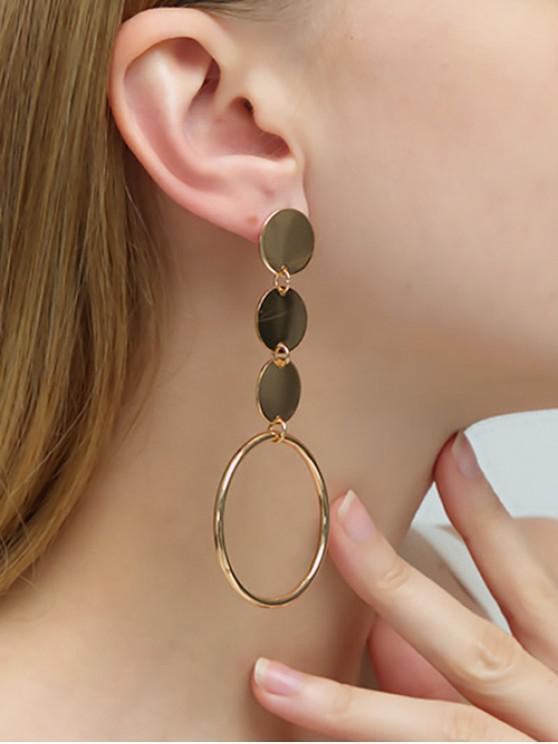 unique Discs Circle Drop Earrings - GOLD