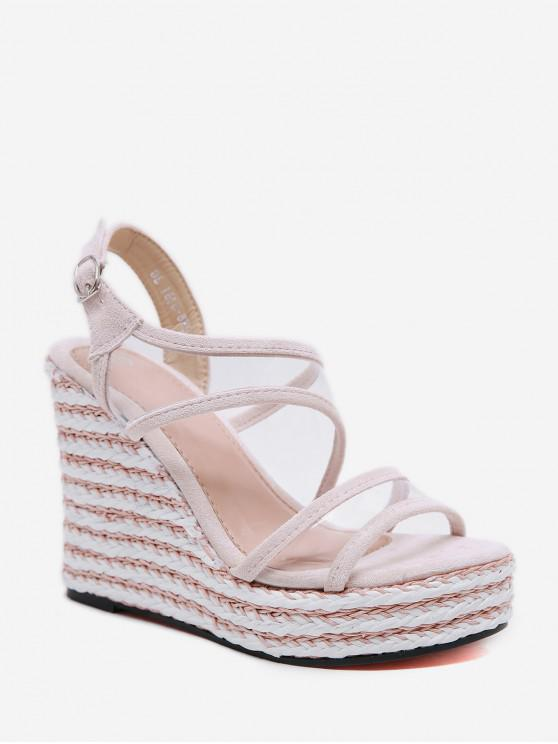 affordable Striped PVC Super High Wedge Sandals - PINK EU 40