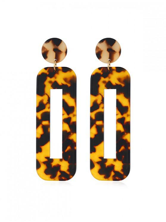 ladies Rectangle Hollow Leopard Drop Earrings - MULTI-A