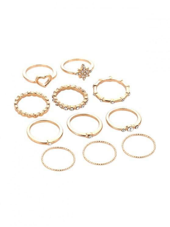 水鑽合金心形戒指套裝 - 金