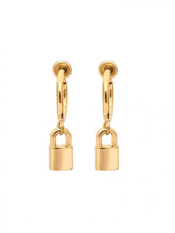 fancy Lock Pendant Hoop Clip On Earrings - GOLD