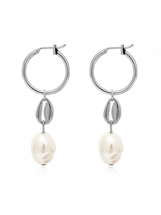 unique Artificial Pearl Alloy Shell Drop Earrings - SILVER