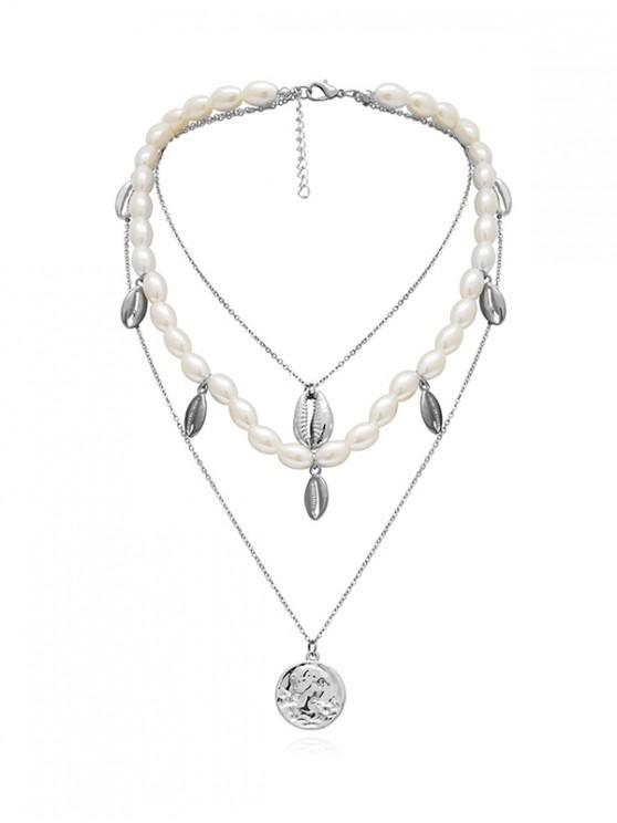 lady Artificial Pearl Alloy Shell Layered Necklace - SILVER