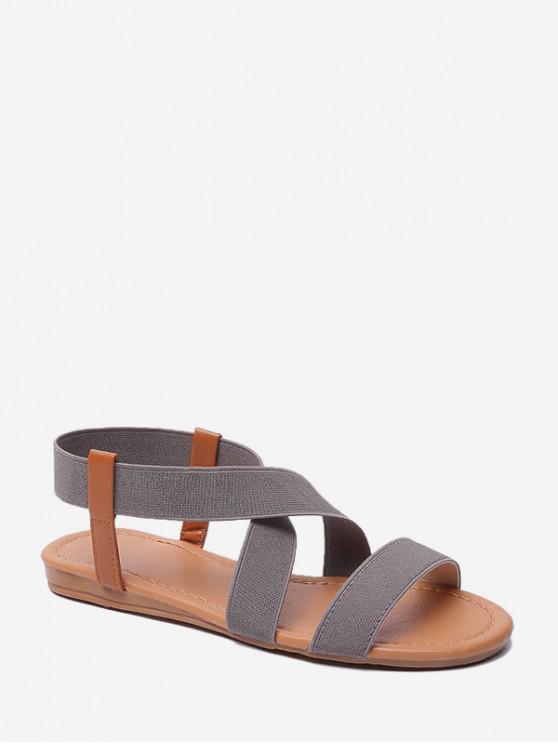 hot Elastic Cross Band Flat Casual Sandals - GRAY EU 35