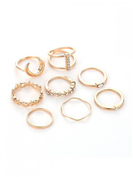 outfits 8Pcs Moon Rhinestone Ring Set - GOLD