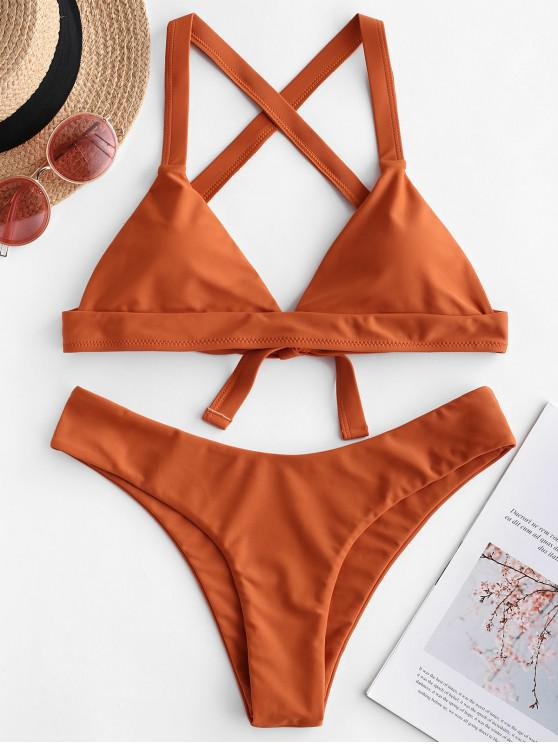ladies ZAFUL Criss Cross Padded Plain Bikini Swimsuit - ORANGE SALMON L