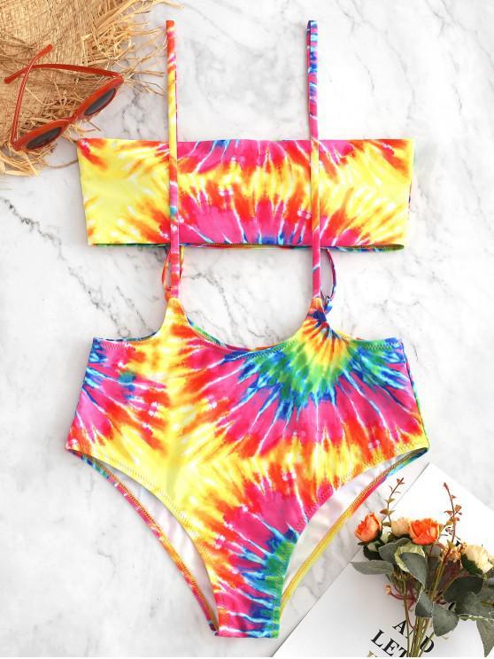 buy ZAFUL Rainbow Spiral Tie Dye Print Suspender Bikini Swimsuit - MULTI-A L