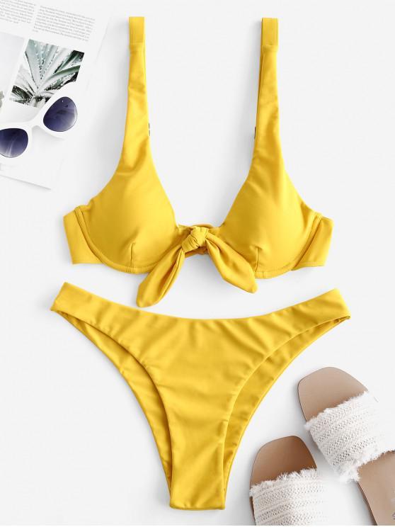 womens ZAFUL Tied Push Up Plain Bikini Swimsuit - GOLDEN BROWN L