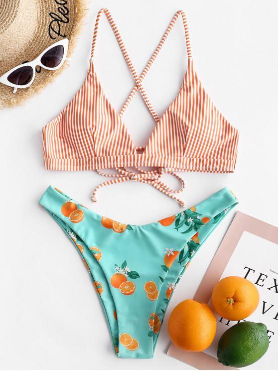 latest ZAFUL Orange Striped Lace Up High Leg Bikini Swimsuit - MULTI-A L