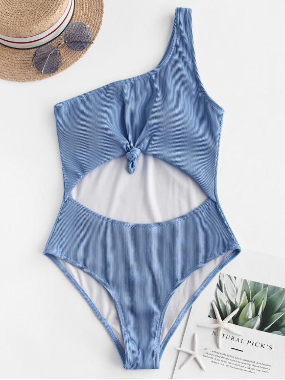 online ZAFUL Textured Ribbed Cutout One Shoulder One-piece Swimsuit - DAY SKY BLUE M