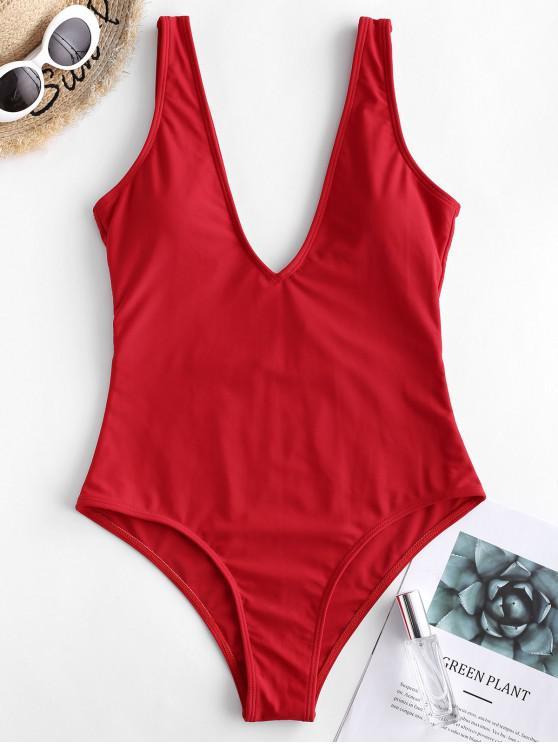 ZAFUL Badeanzug mit Tiefem Rückenausschnitt - Rot M