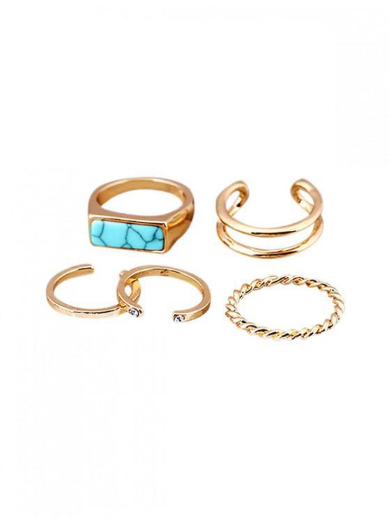 fashion Artificial Turquoise Rhinestone Cuff Ring Set - GOLD