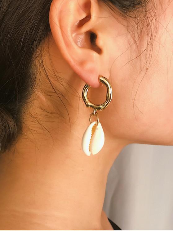 womens 2Pairs Shell C Shape Earrings Set - GOLD
