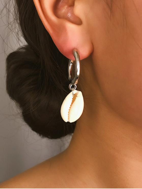 trendy 2Pairs Shell C Shape Earrings Set - SILVER