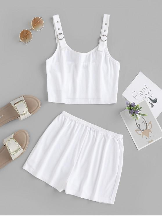 trendy ZAFUL Buckle Strap Crop Top and Shorts Set - WHITE S