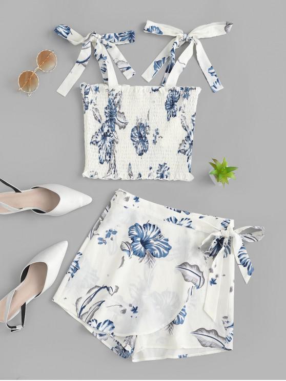 womens ZAFUL Flower Print Tie Shoulder Smocked Two Piece Shorts Set - WHITE L