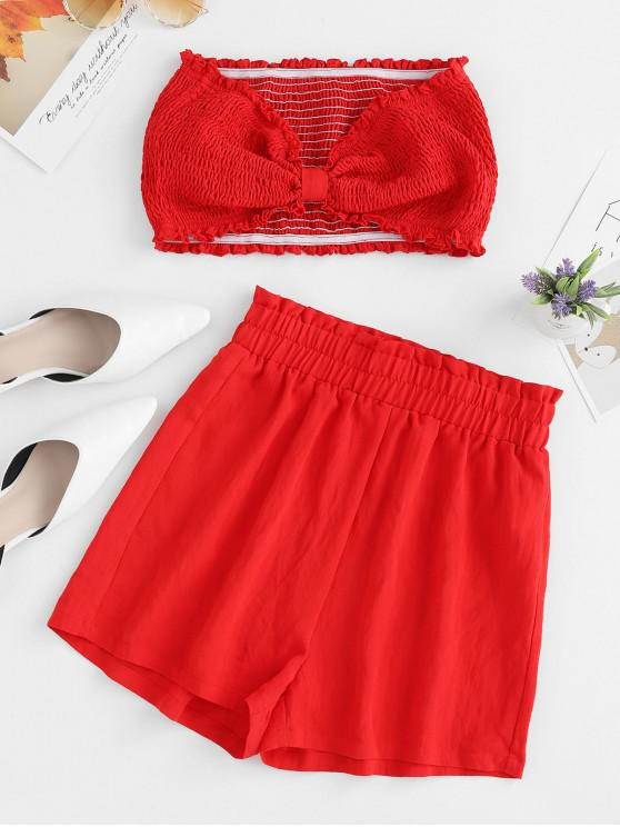 outfit ZAFUL Smocked Bowknot Bandeau Two Piece Shorts Set - RUBY RED S