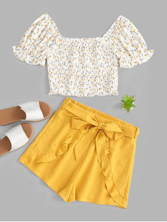 outfits ZAFUL Ditsy Floral Smocked Milkmaid Two Piece Shorts Set - RUBBER DUCKY YELLOW S