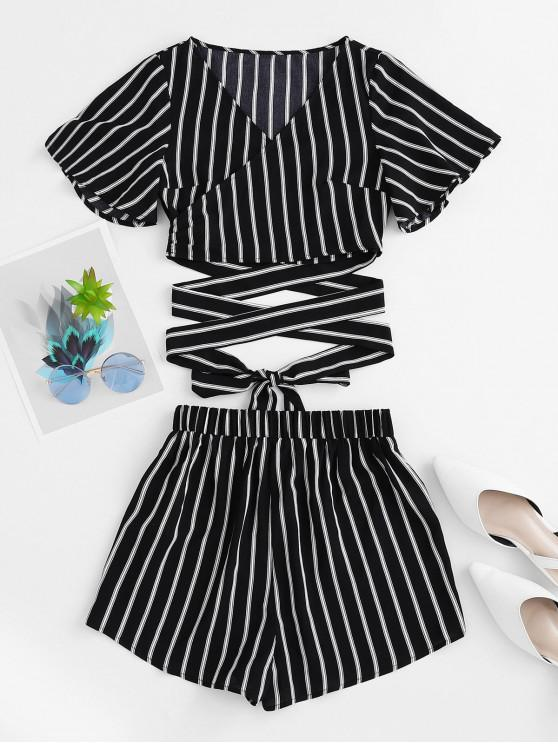 shops ZAFUL Flutter Sleeve Striped Wrap Two Piece Shorts Set - BLACK XL