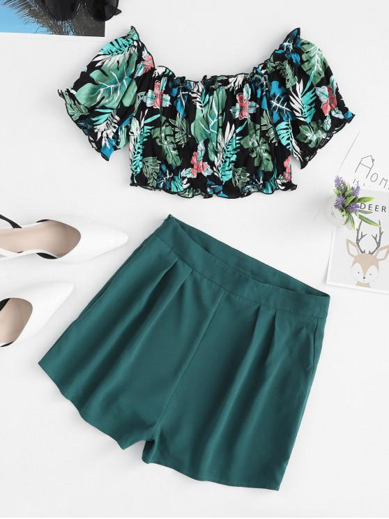 sale ZAFUL Tropical Print Crop Top and Mini Shorts Set - MULTI L
